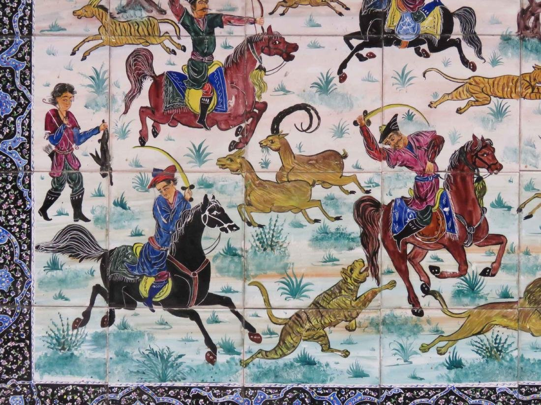 "HAND PAINTED PERSIAN HUNT SCENE TILE PICTURE. 30 X 42"" - 2"