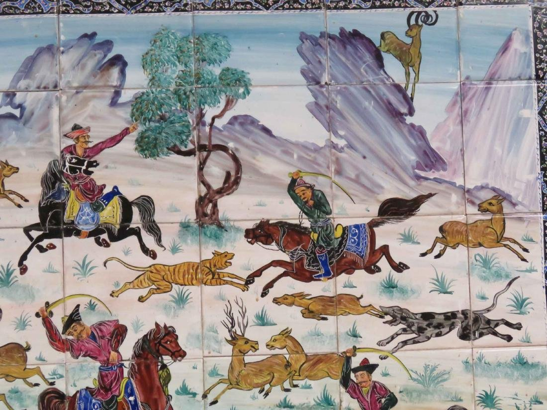 "HAND PAINTED PERSIAN HUNT SCENE TILE PICTURE. 30 X 42"" - 3"