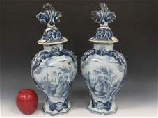 PAIR DUTCH DELFT DECORATED FAIENCE POTTERY COVERED