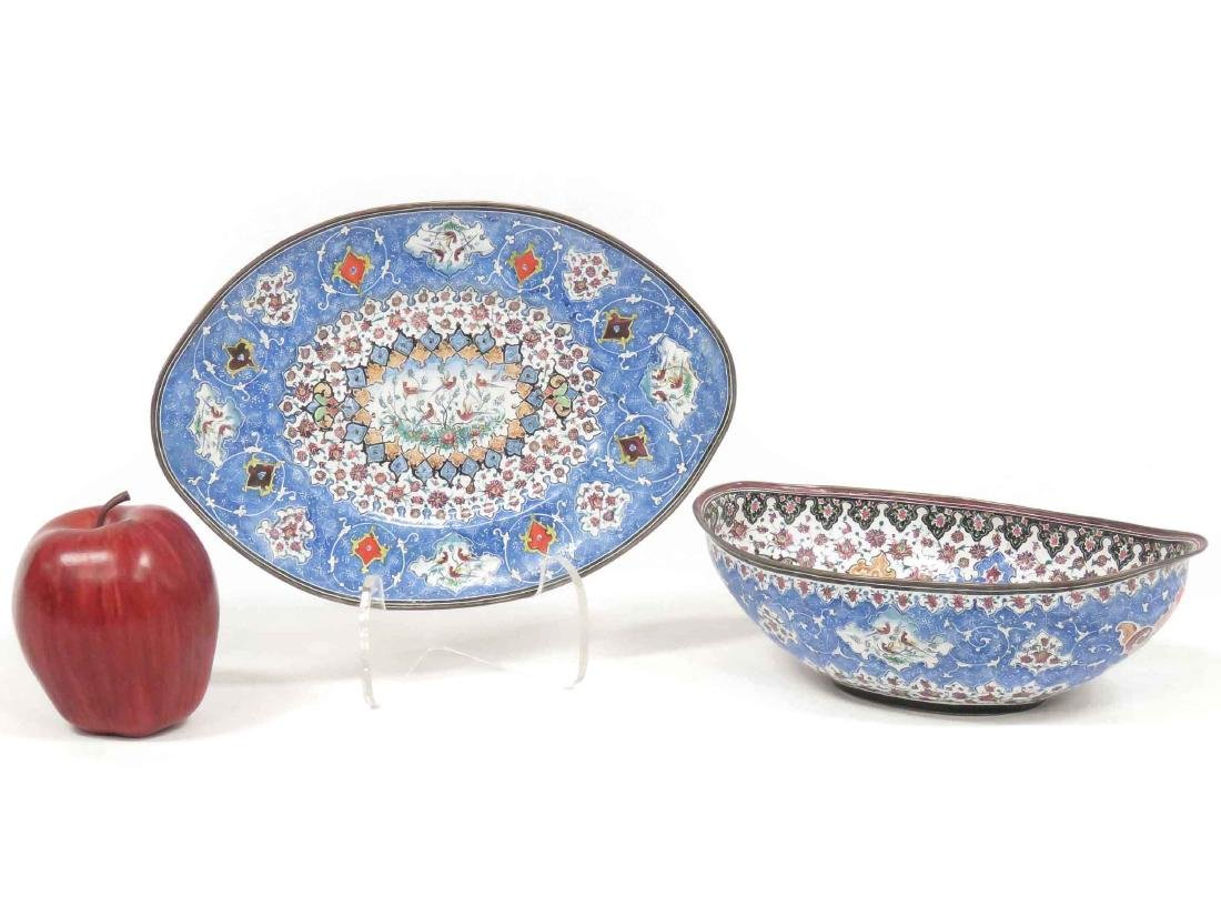 PERSIAN ENAMEL BOWL & UNDER PLATE, SIGNED. LENGTH 9