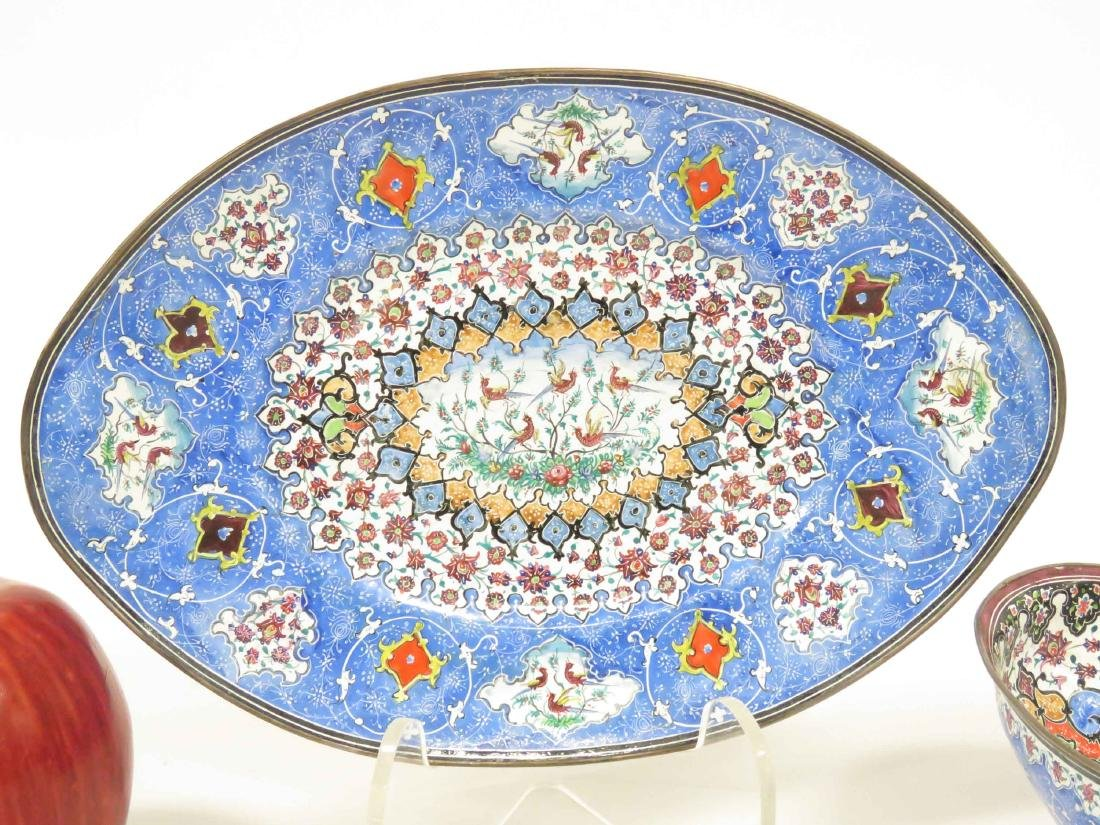 PERSIAN ENAMEL BOWL & UNDER PLATE, SIGNED. LENGTH 9 - 2