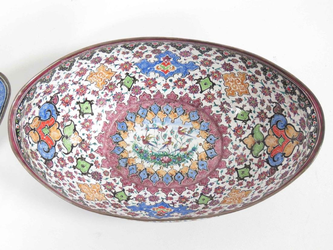 PERSIAN ENAMEL BOWL & UNDER PLATE, SIGNED. LENGTH 9 - 3