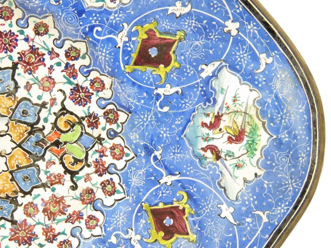 PERSIAN ENAMEL BOWL & UNDER PLATE, SIGNED. LENGTH 9 - 5