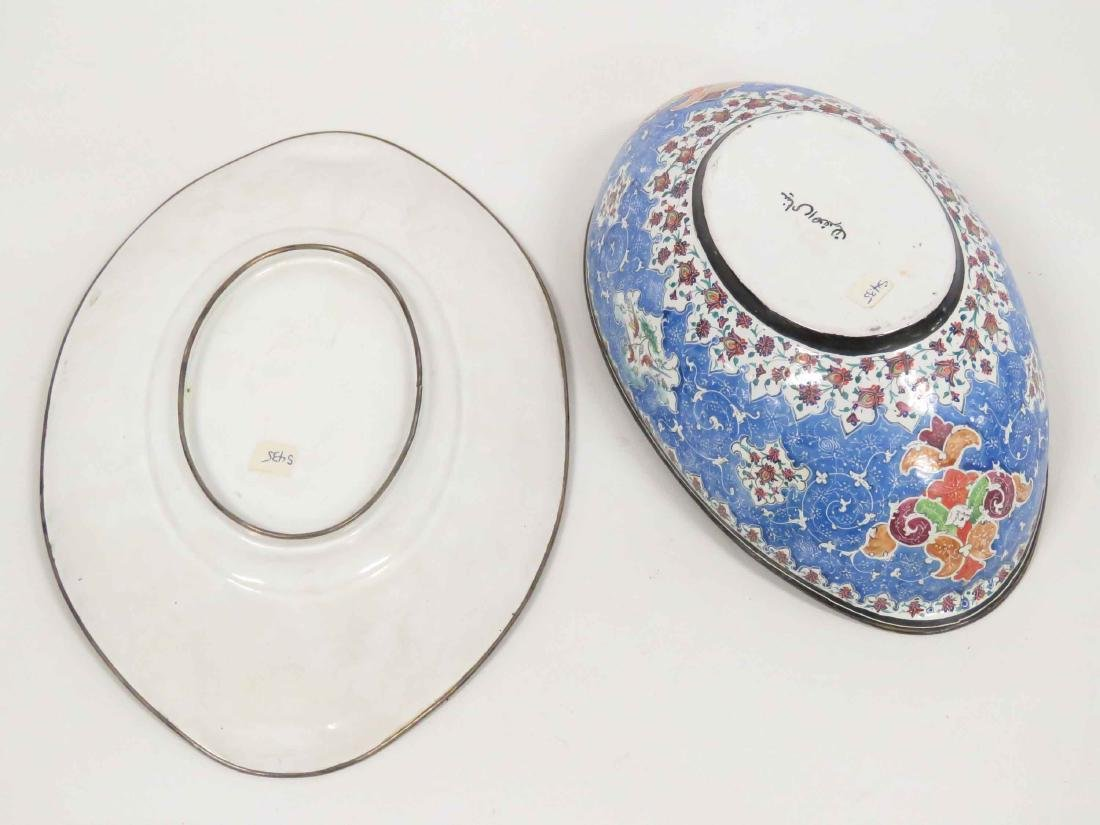 PERSIAN ENAMEL BOWL & UNDER PLATE, SIGNED. LENGTH 9 - 6