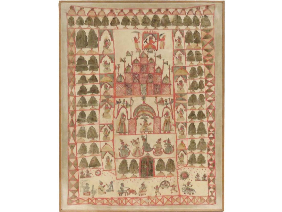 INDIAN HINDU TANTRIC PAINTING, GOUACHE ON CLOTH, MID