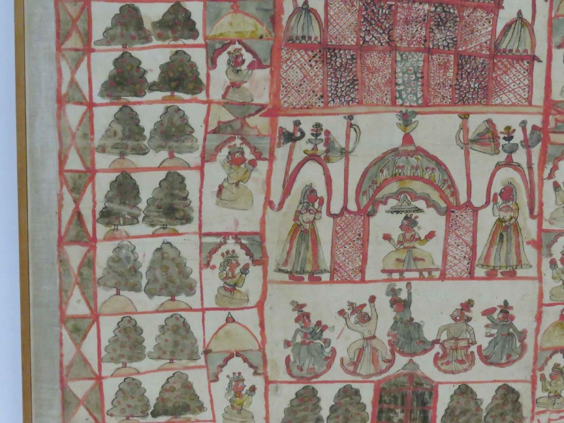 INDIAN HINDU TANTRIC PAINTING, GOUACHE ON CLOTH, MID - 2