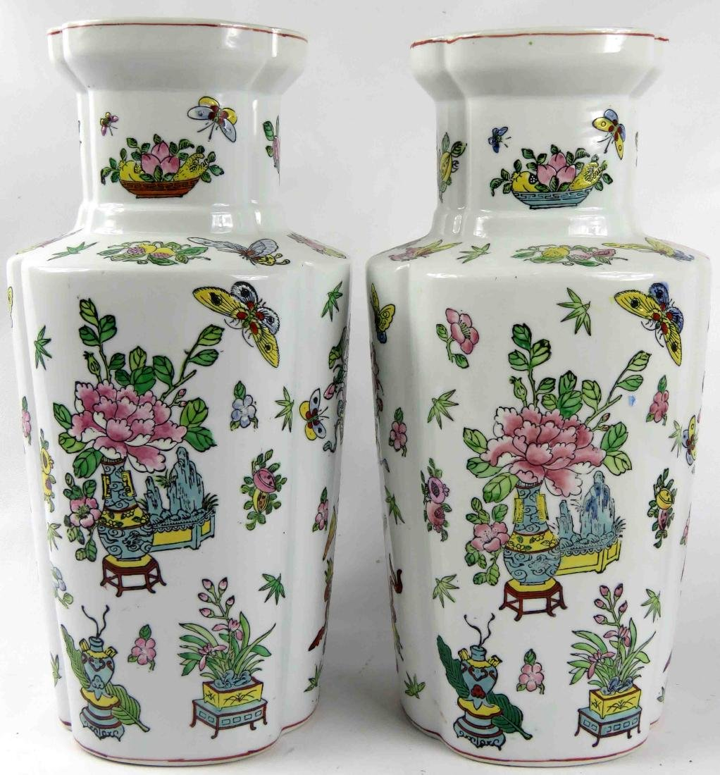 PAIR CHINESE EXPORT STYLE FAMILLE ROSE VASES. HEIGHT