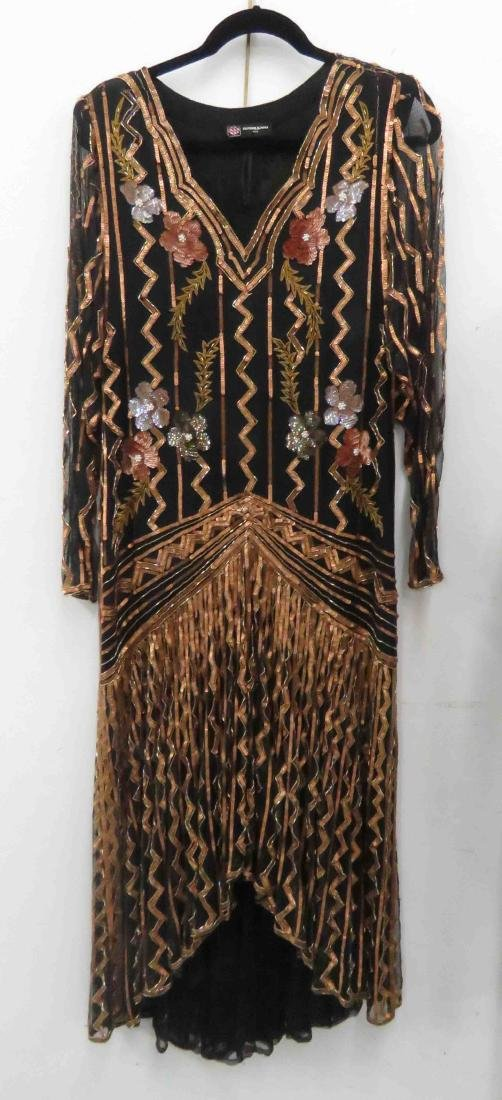 LOT INCLUDING ROMANO/ITALY BEADED COCKTAIL DRESS, SIZE - 2