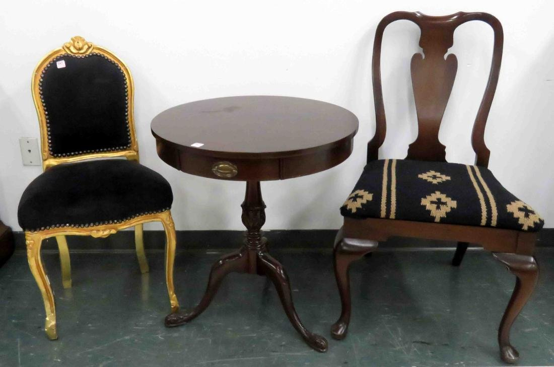 LOT (3) INCLUDING QUEEN ANNE STYLE MAHOGANY SIDE CHAIR;