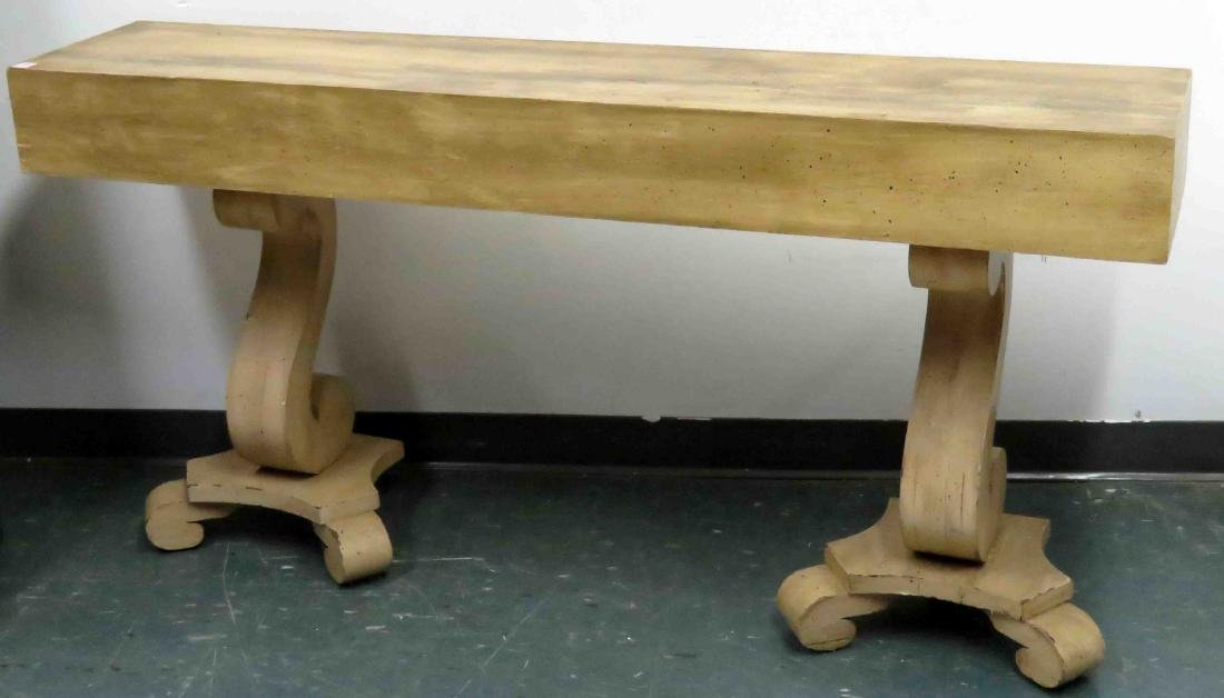 "CHARLES II STYLE CARVED OAK CONSOLE TABLE. HEIGHT 28"";"