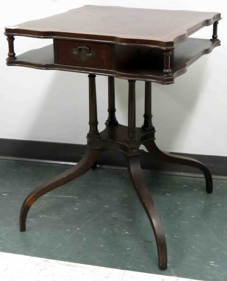 REGENCY STYLE INLAID MAHOGANY TIERED STAND WITH DRAWER.
