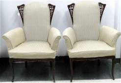PAIR ART MODERNE FRENCH STYLE MAHOGANY ARMCHAIRS