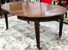 CLASSICAL STYLE CARVED MAHOGANY EXTENSION DINING TABLE