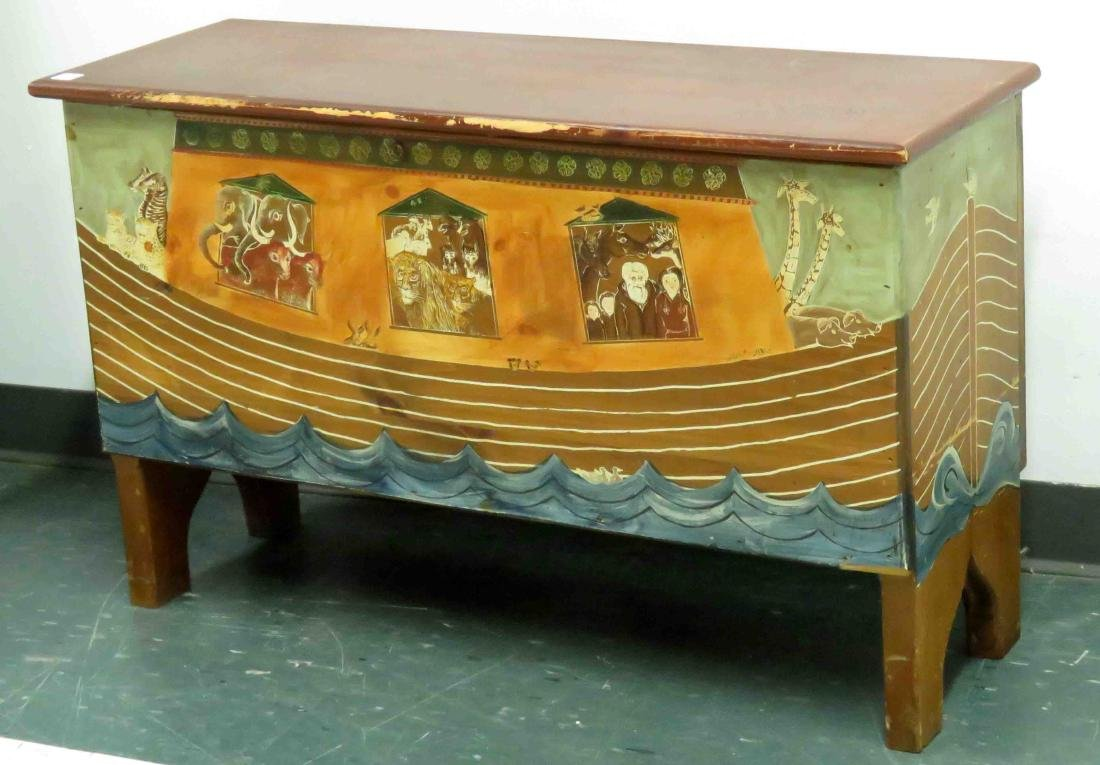 FOLK ART PAINTED PINE BLANKET BOX, NOAH'S ARK. HEIGHT
