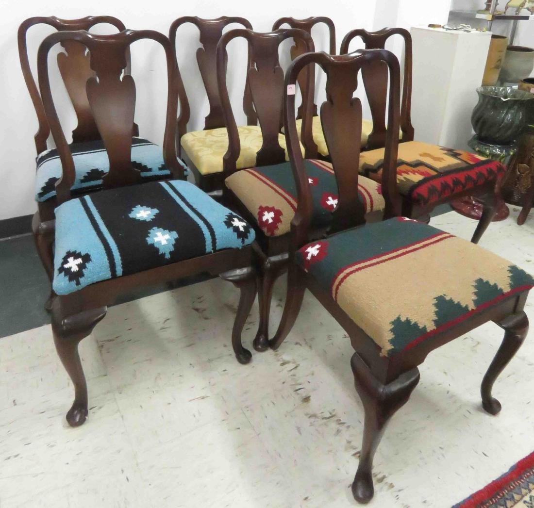 SET (7) QUEEN ANNE STYLE MAHOGANY DINING CHAIRS
