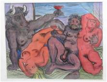 AFTER PABLO PICASSO, INK AND WATERCOLOR, BACCHANAL,