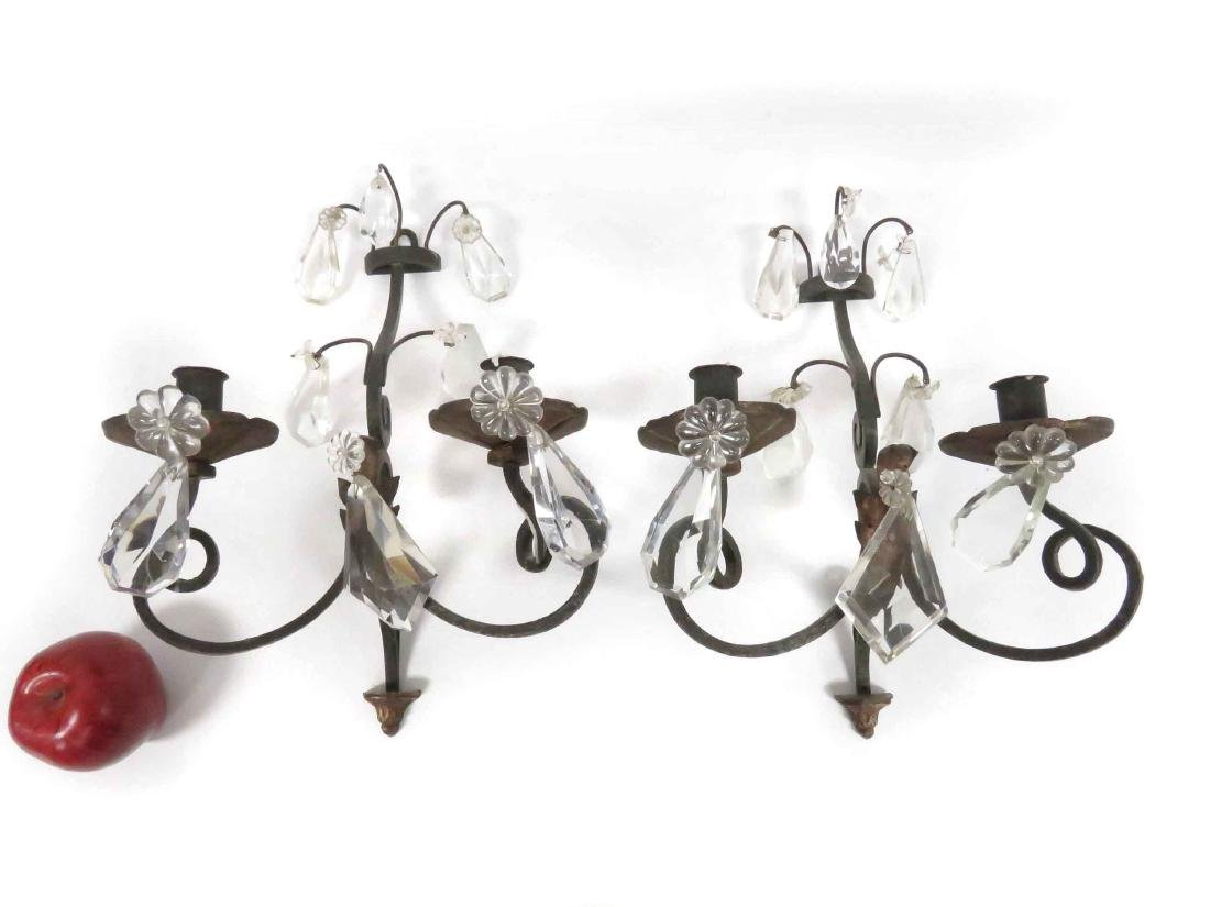 PAIR VINTAGE PATINATED BRONZE/CRYSTAL WALL SCONCES.