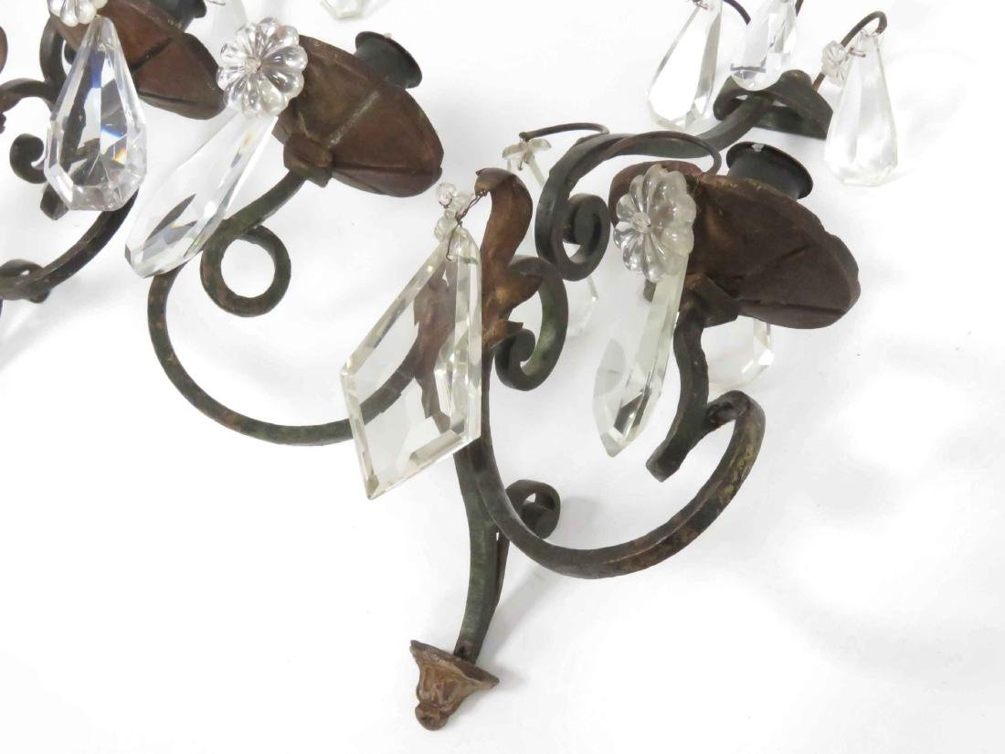 PAIR VINTAGE PATINATED BRONZE/CRYSTAL WALL SCONCES. - 2