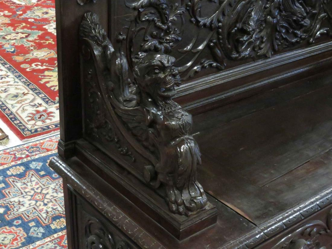 RENAISSANCE REVIVAL CARVED WALNUT SETTLE WITH STORAGE, - 2