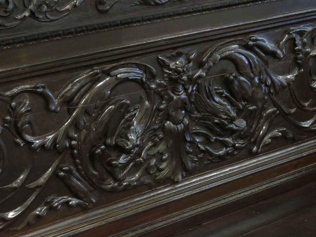 RENAISSANCE REVIVAL CARVED WALNUT SETTLE WITH STORAGE, - 3