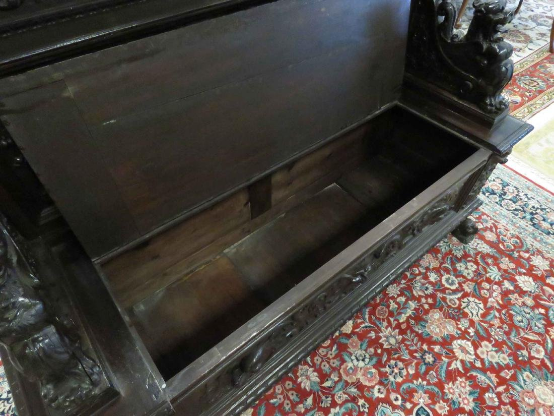 RENAISSANCE REVIVAL CARVED WALNUT SETTLE WITH STORAGE, - 4