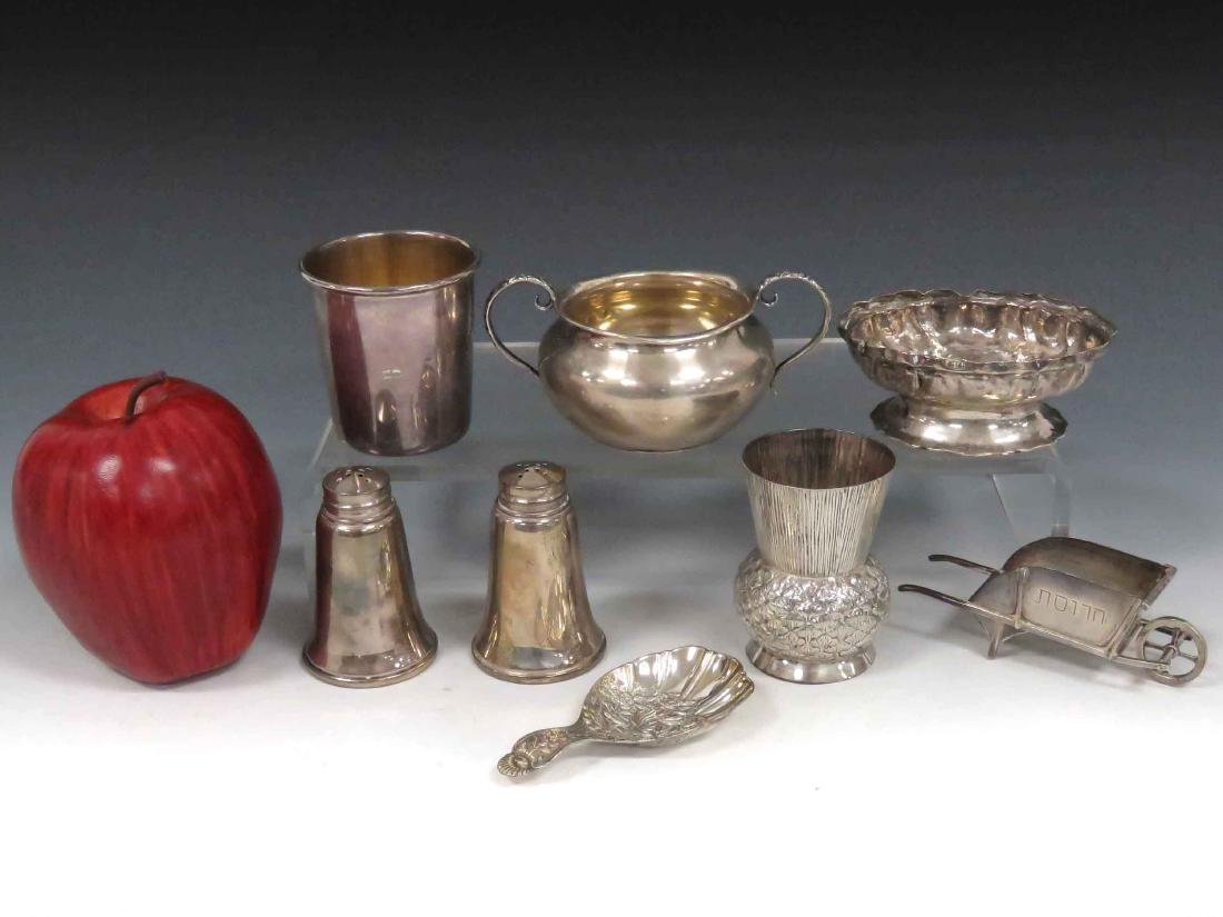 LOT ASSORTED STERLING INCLUDING SUGAR, FOOTED MASTER