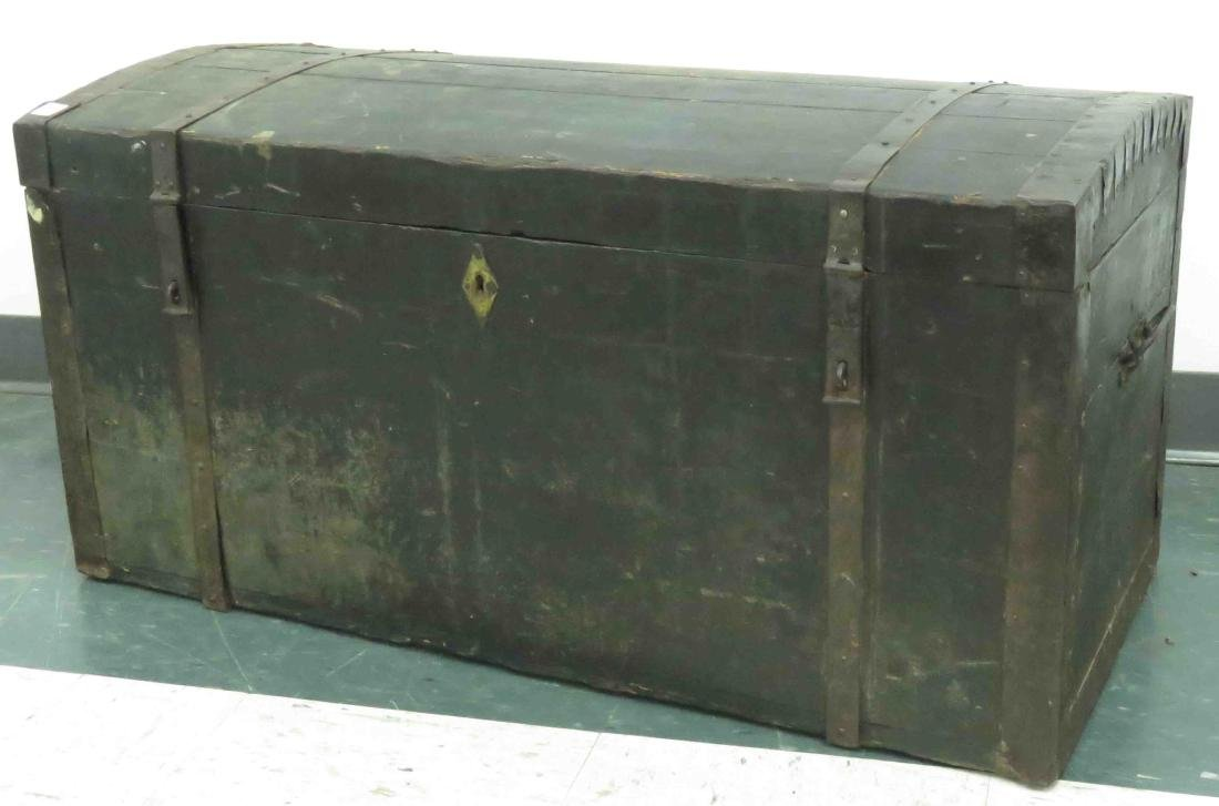 IRON BOUND TRUNK WITH GREEN WASH, 19TH CENTURY. HEIGHT