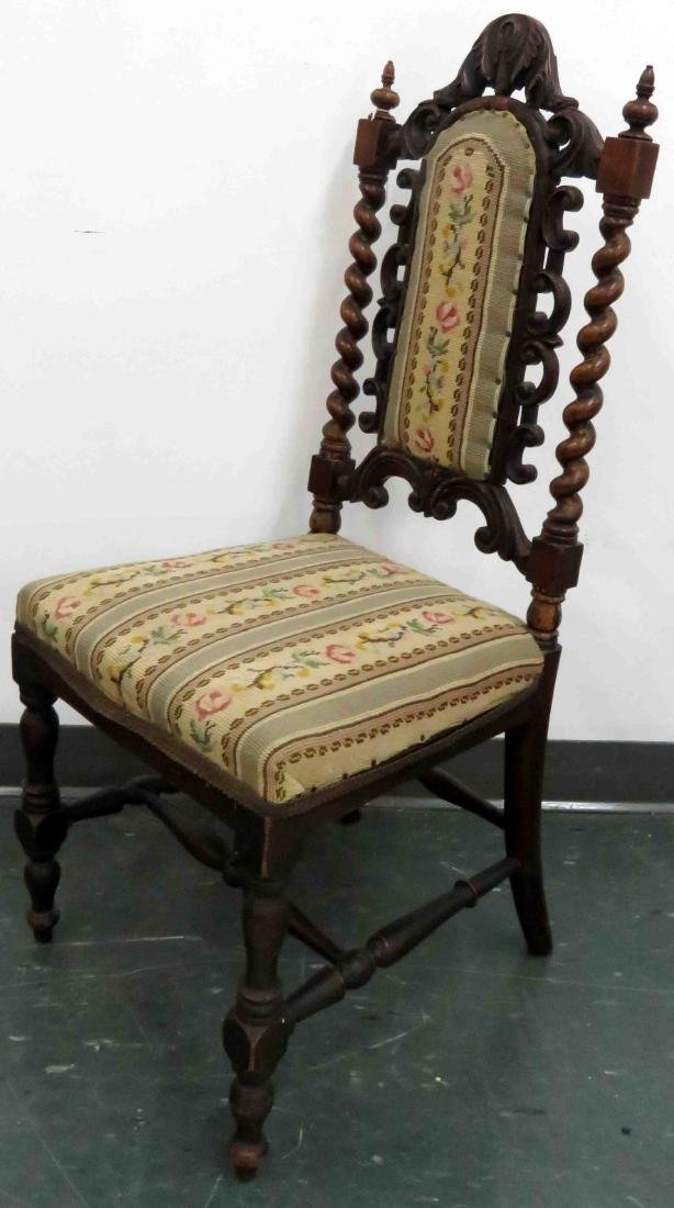 CHARLES II STYLE CARVED OAK BOUDOIR CHAIR, 19TH CENTURY