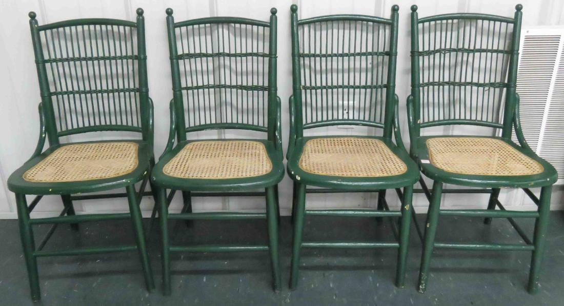 SET (4) GREEN PAINTED CANED SEAT CHAIRS