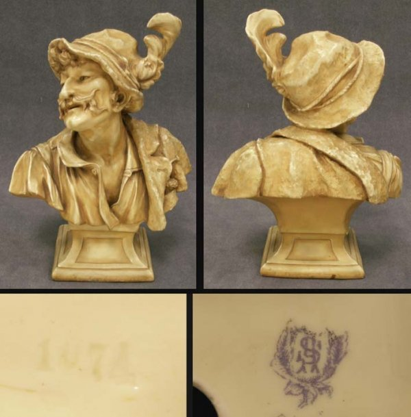 2006: GERMAN PORCELAIN BUST OF A MAN WITH HAT, SIGNED