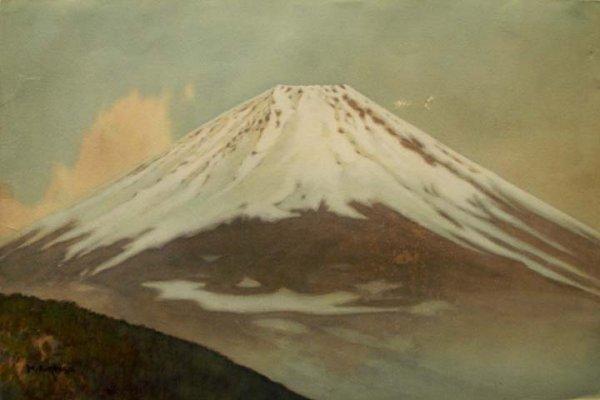 2022: WATERCOLOR, MT. FUJI, SIGNED H. FUKAYA