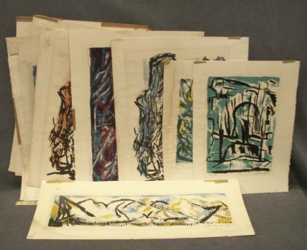 2024: FOLIO (11) ASSORTED COLORED LITHOGRAPHS, ERLANGER
