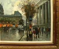 2173: PAINTING, PARIS STREET SCENE, DANCOURT