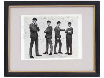 PHOTO OF THE BEATLES, BEARING SIGNATURES OF PAUL