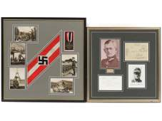 LOT 2 GERMAN WWII INCLUDING POSTCARDS ARMBAND WAR