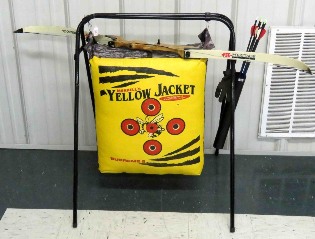MORREL'S YELLOW JACKET ARCHERY SET WITH BOW, ARROWS,