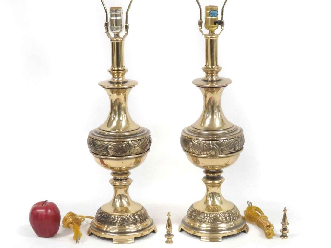 PAIR KICHLER CLASSICAL DESIGN BRASS TABLE LAMPS. HEIGHT