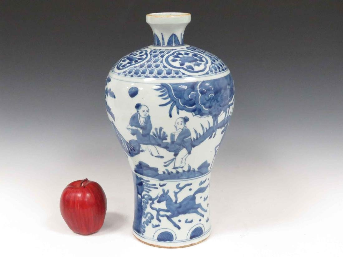 CHINESE DECORATED PORCELAIN MEI PING FORM VASE. HEIGHT - 2
