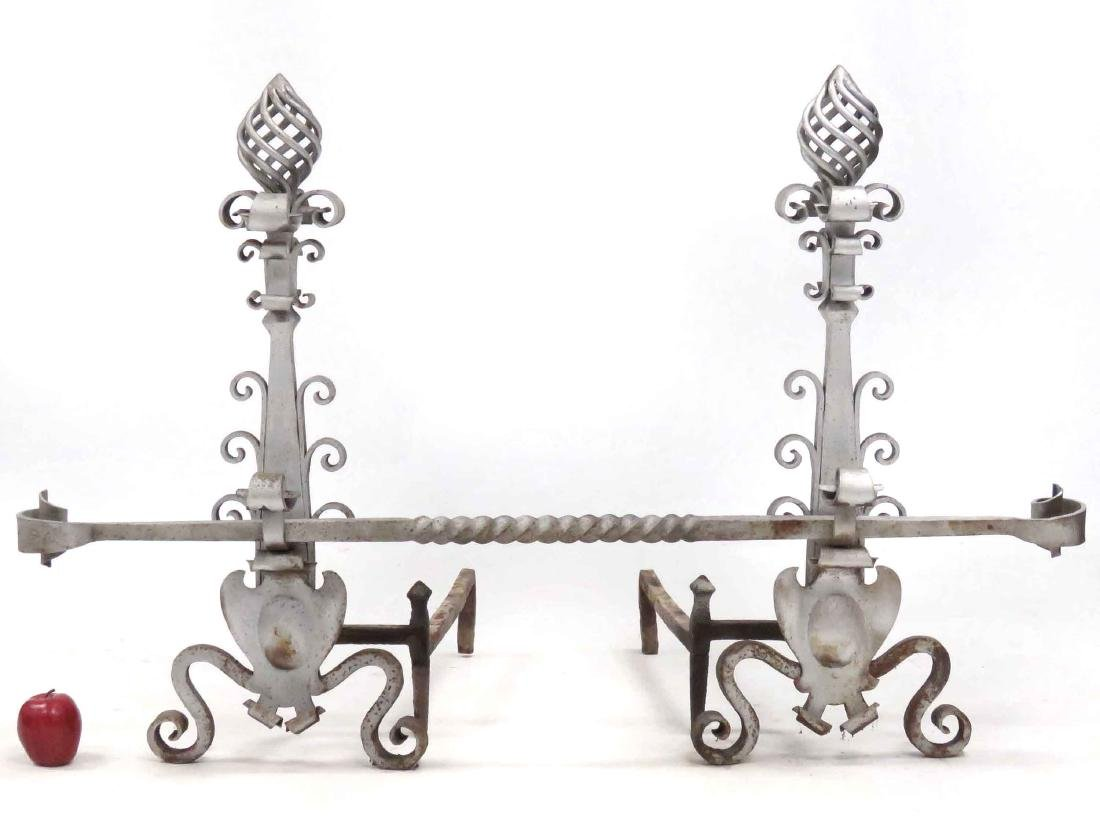 SET RENAISSANCE STYLE WROUGHT IRON ANDIRONS WITH CROSS