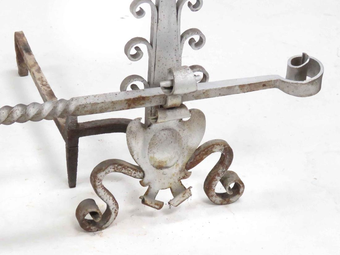 SET RENAISSANCE STYLE WROUGHT IRON ANDIRONS WITH CROSS - 2