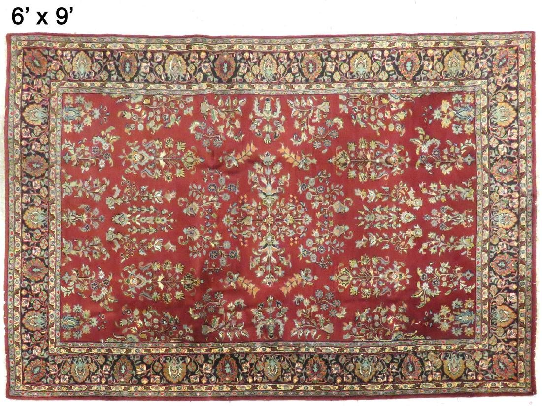 SEMI-ANTIQUE SAROUK RUG. 6' X 9'