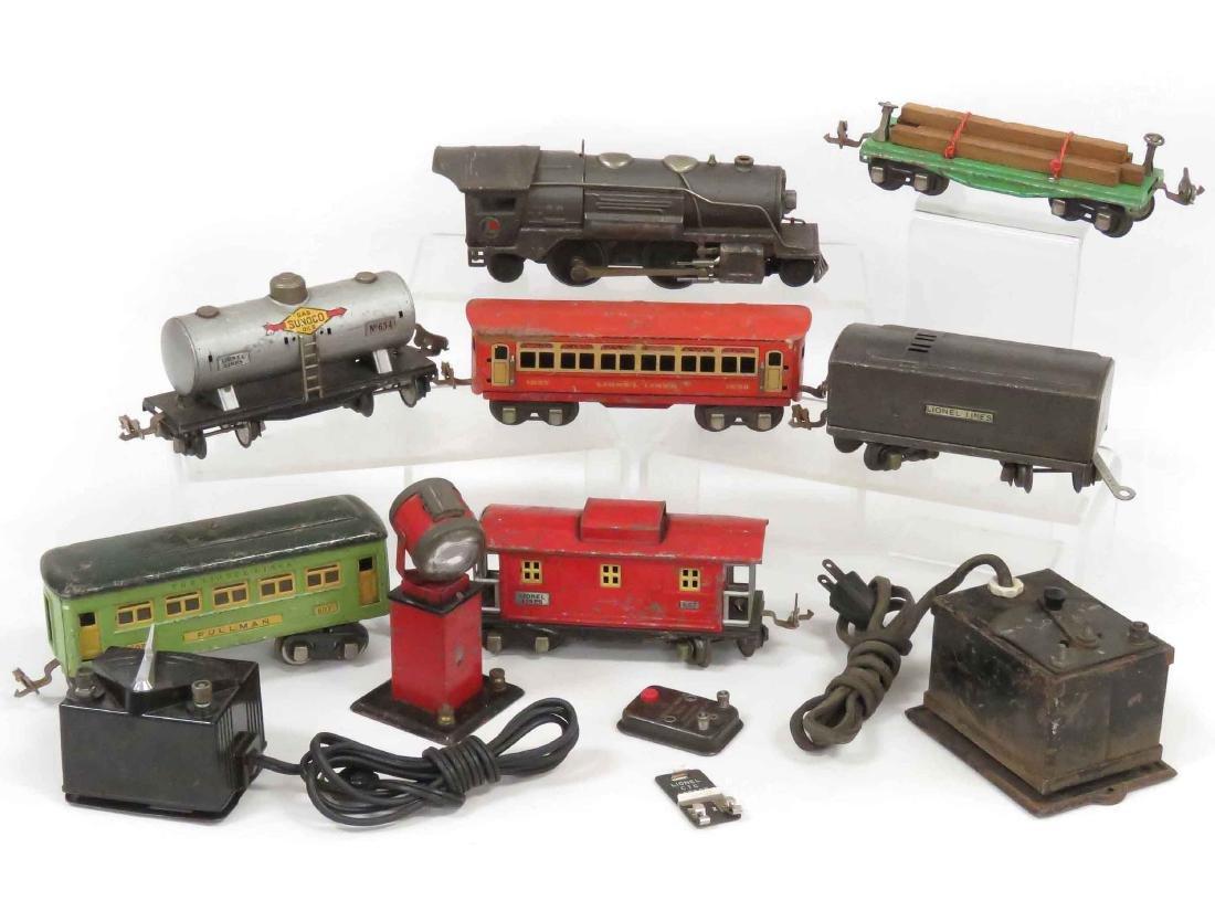 VINTAGE LIONEL O'GAUGE TRAINS INCLUDING ENGINE/TENDER,