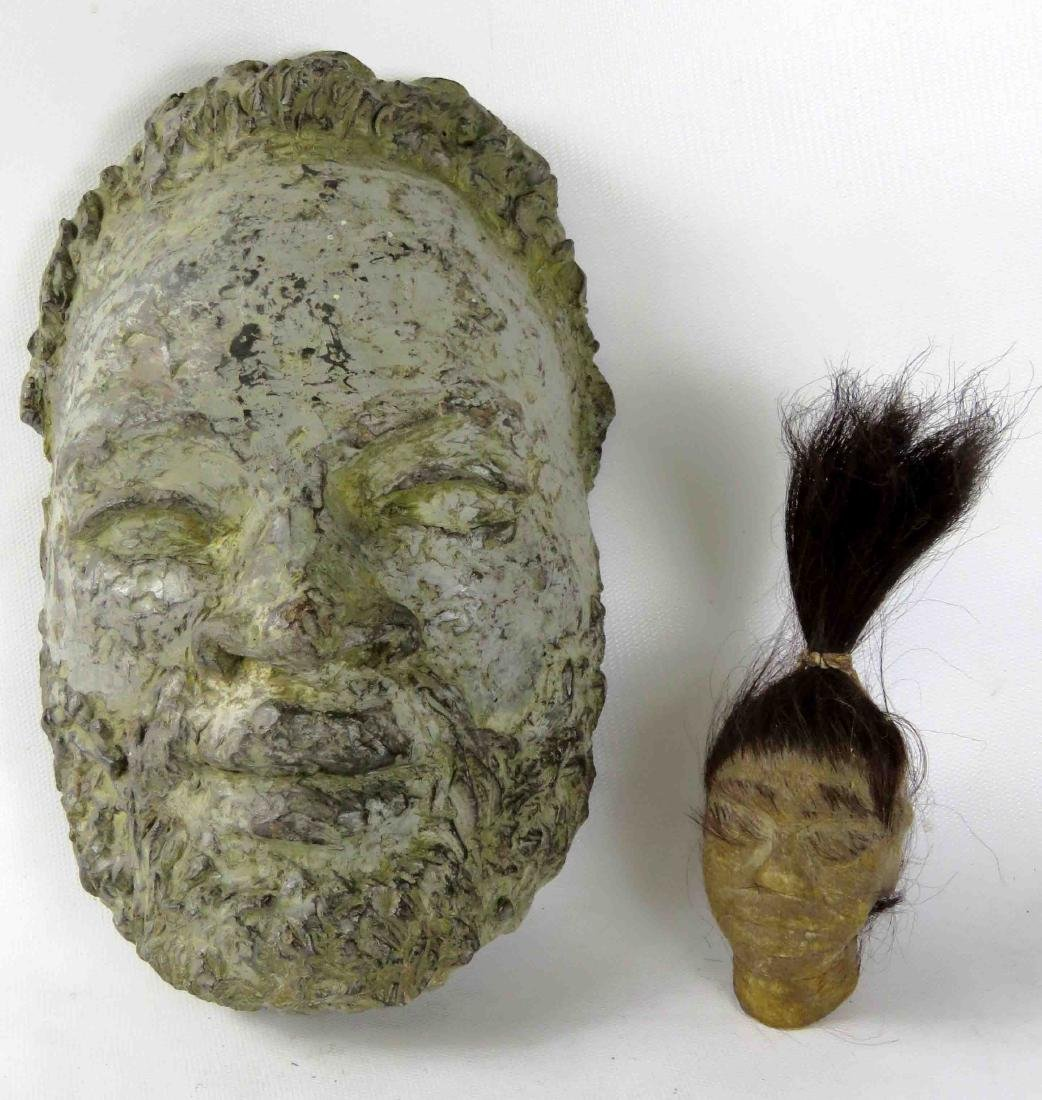 """LOT (2) INCLUDING SCULPTED MASK, HEIGHT 9 1/2"""" AND"""