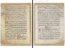 MEDIEVAL ILLUMINATED VELLUM MANUSCRIPT PAGE (DOUBLE