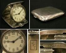 194: WM B KERR STERLING 8-DAY CASED SWISS TRAVEL CLOCK
