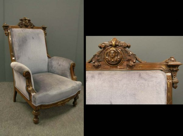 387: PAIR RENAISSANCE REVIVAL CARVED WALNUT ARMCHAIRS