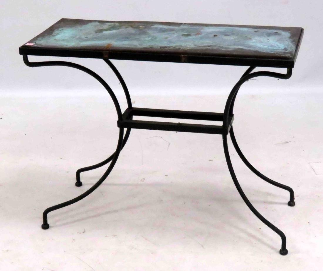 WROUGHT IRON BASE CONSOLE TABLE WITH COPPER TOP. HEIGHT
