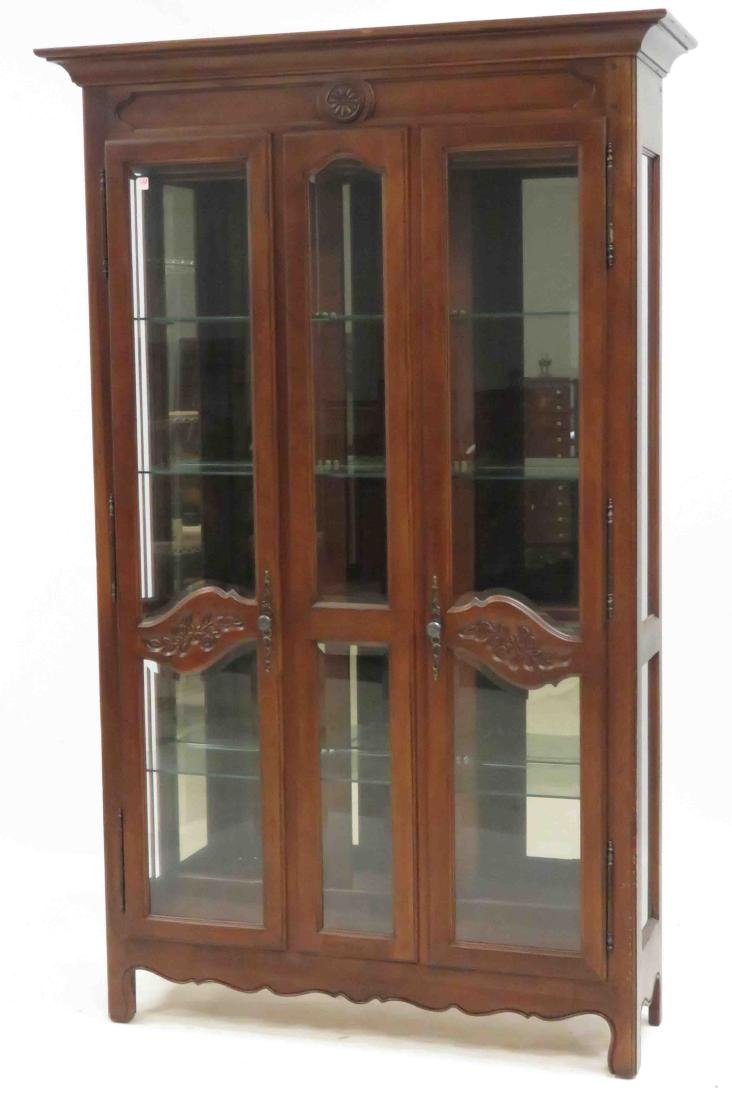 FRENCH PROVINCIAL CARVED WALNUT CHINA CABINET. HEIGHT