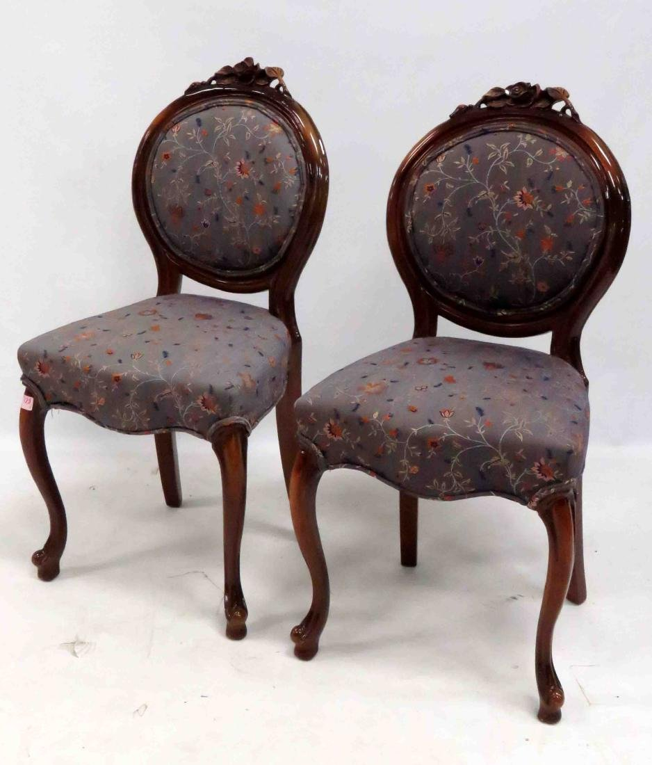 PAIR VICTORIAN STYLE CARVED WALNUT SIDE CHAIRS