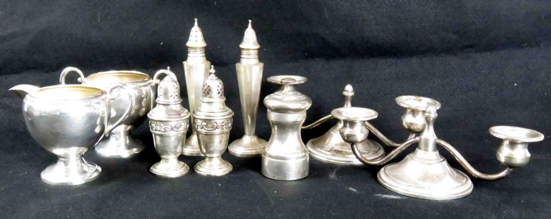 LOT ASSORTED WEIGHTED STERLING INCLUDING CANDLESTICKS,